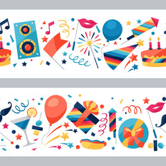 Celebration seamless pattern with party icons and objects.