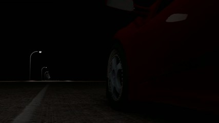 The sports car at night