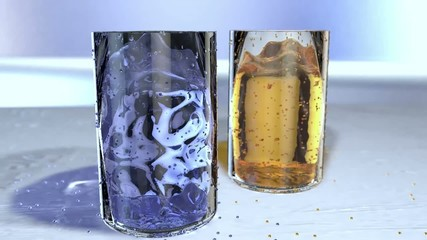 Liquid in glasses