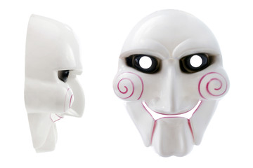 Plastic Halloween mask on a white background