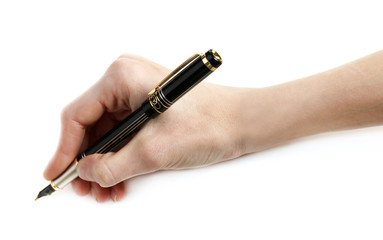 Male hand with fountain pen isolated on white