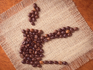 Image of cezve made with coffee beans