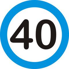 Verkehrsschild, 40
