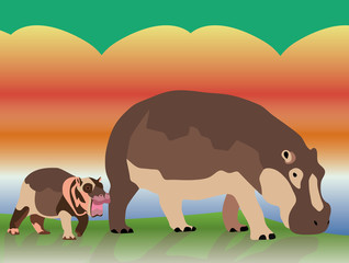 baby & mother hippo illustration