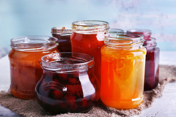 Homemade jars of fruits jam