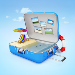 Piece of Paradise in Suitcase with Different Accessories