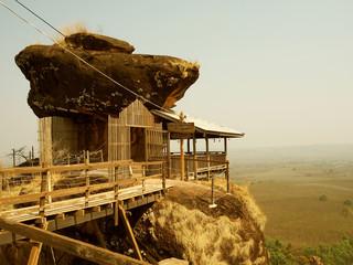 Wood pavilion on mountain Phutok, Thailand