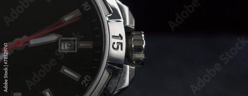 Leinwandbild Motiv luxury man watch detail, chronograph close up