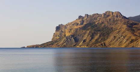 View from the sea to the mountains of Kara-Dag