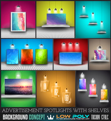 Collection of spotlights with panels with Low Poly arts