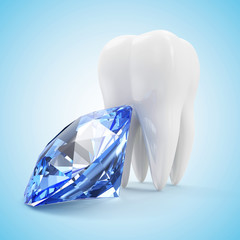 Tooth with Blue Diamond on gradient background