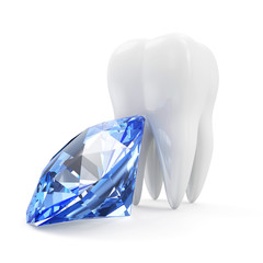 Tooth with Blue Diamond isolated on white background