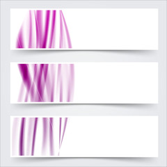 purple header footer wave swoosh lines banner set