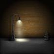 Vintage Streetlamp On Brick Wall Background. - 78530509