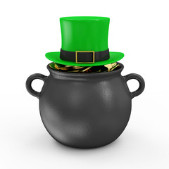Iron Pot with Golden Coins and Green Leprechaun Hat