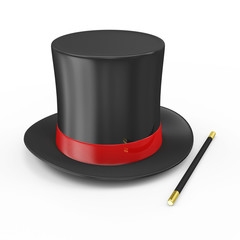 Magic Hat with Red Ribbon and Magician Wand