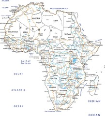 High detailed Africa road map with labeling.