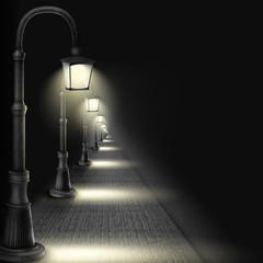Lamps Along Paving Block Street.