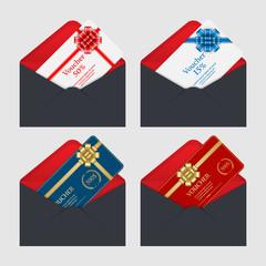 Voucher, Gift certificate, Coupon template in envelope.vector