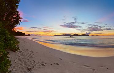 Sunset on tropical beach - Seychelles