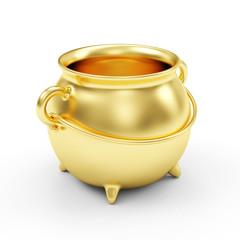 Empty Golden Pot isolated on white background
