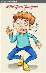 A boy biting his tongue