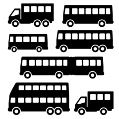 Set bus silhouette on a white background.
