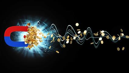 Magnet with Golden Coins on black abstract background.