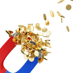 Magnet with Golden Coins. Business and Financial Concept
