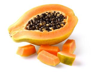 Fresh papaya with slice