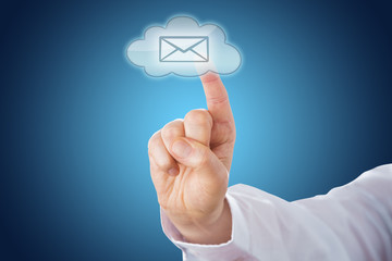 Cloud Email Icon On Blue Ground Activated By Touch