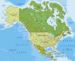 Highly detailed editable political map. North America.