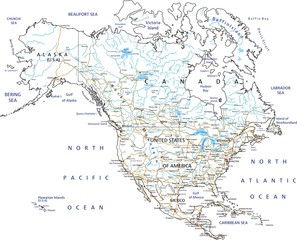 High detailed North America road map with labeling.