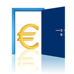 offene Tür und Euro-Symbol