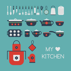 Set of kitchen utensils.