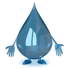 Sad water drop character
