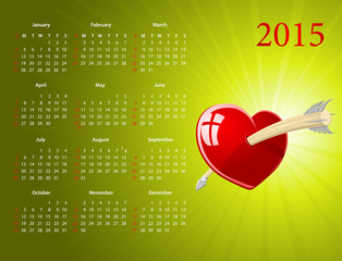 Vector American calendar for Valentines Day