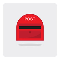 Vector of flat icon, red mail box on isolated background
