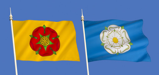 Flags of Lancashire and Yorkshire - United Kingdom
