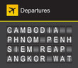 Cambodia flip alphabet airport departures
