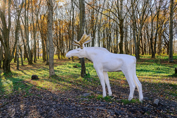 City sculpture of elk in the park of 30th October anniversary