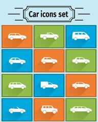 Car icons set, flat shadows
