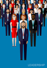 flat illustration of a leader and a team. a crowd of business