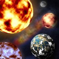 illustration Sun, Mercury, Venus, Earth, an author's work,
