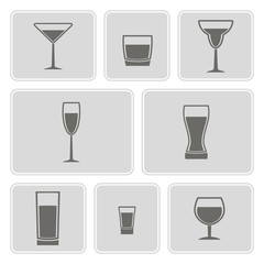 set of monochrome icons with Drink glass for your design