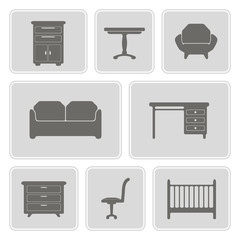 set of monochrome icons with furniture for your design