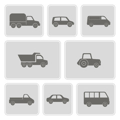 set of monochrome icons with car icons for your design