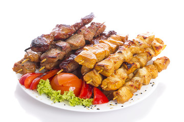 Kebab over white background
