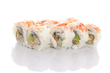 Shrimp sushi roll with shadow on white background