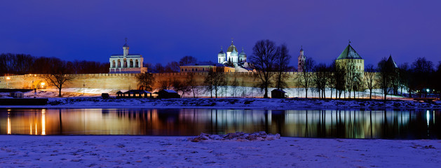 View of the Novgorod Kremlin at night